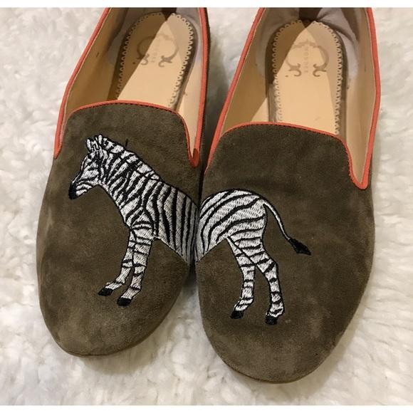 C. Wonder Zebra Embroidered Suede Loafers Flats 9
